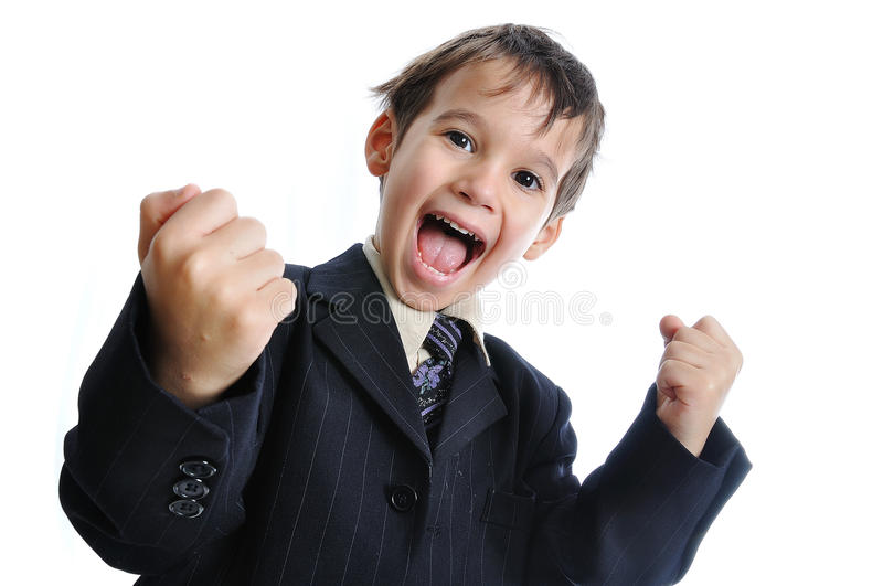 Pure success on kid's face royalty free stock photography