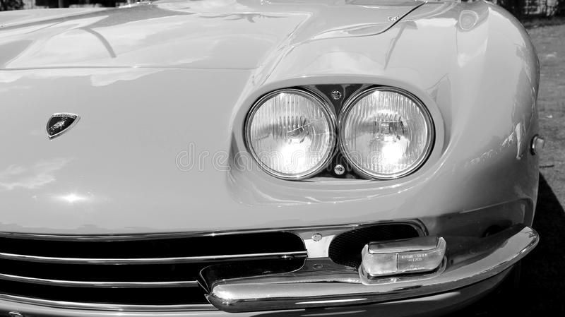 Pure vintage Lamborghini front end detail. Classic twin headlamps. front corner. The successor to the 350 GT and second production model. 1960s Lamborghini 400 royalty free stock photo