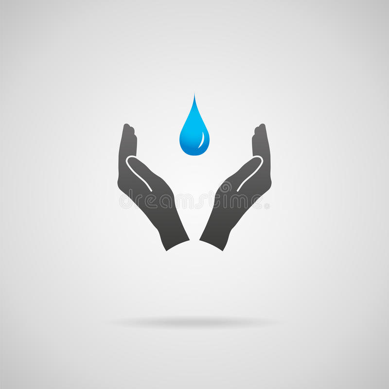 Pure water concept. Pure drinking water, environmental conservation and natural resources concepts. Vector icon of hands in protective gesture and blue drop of stock illustration