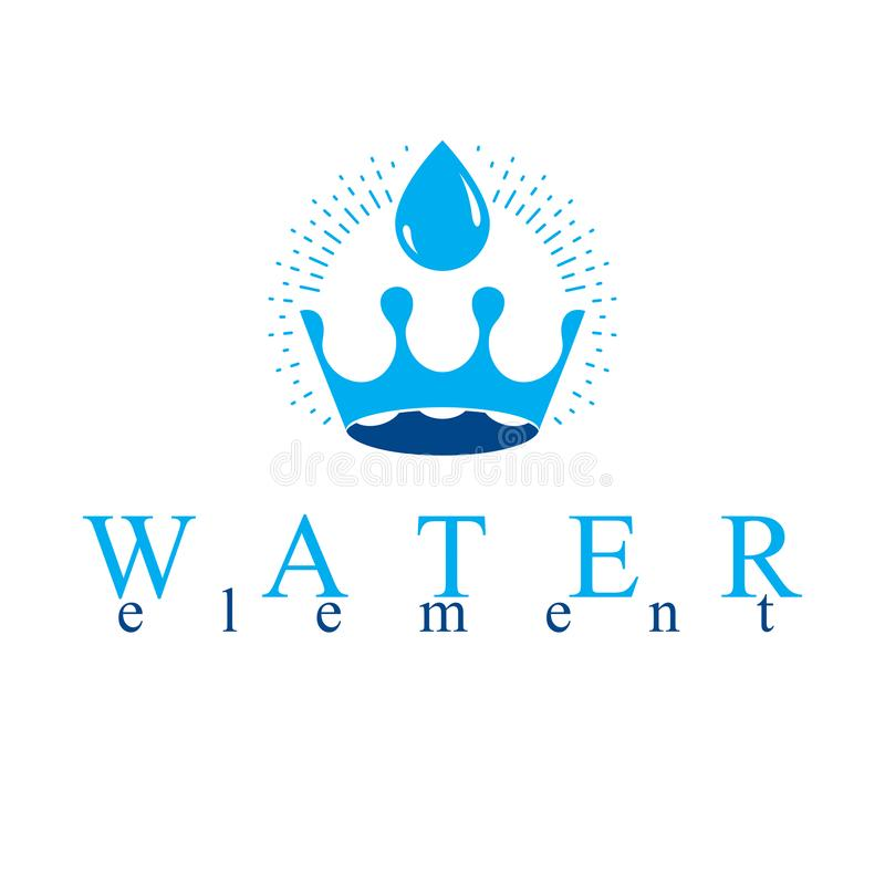 Pure water vector abstract logo created in the shape of royal crown. Business emblem best for use in mineral water advertising stock illustration