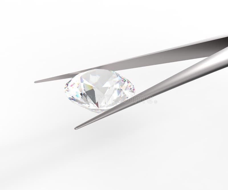 Pure white diamond in tweezers. 3D rendere vector illustration