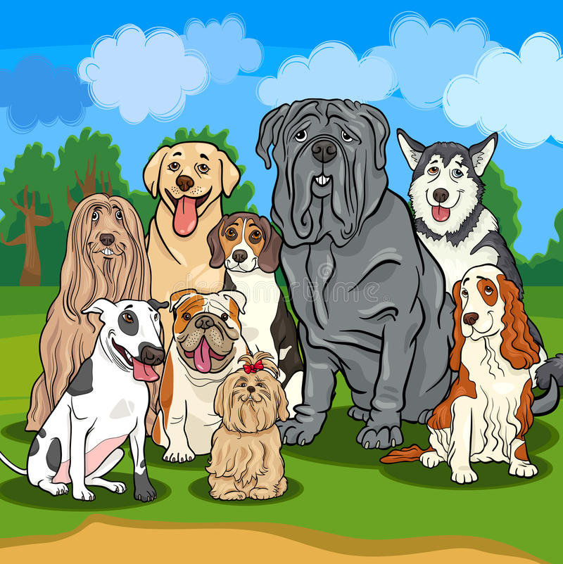 Purebred dogs cartoon illustration. Cartoon Illustrations of Funny Purebred Dogs Characters Group stock illustration