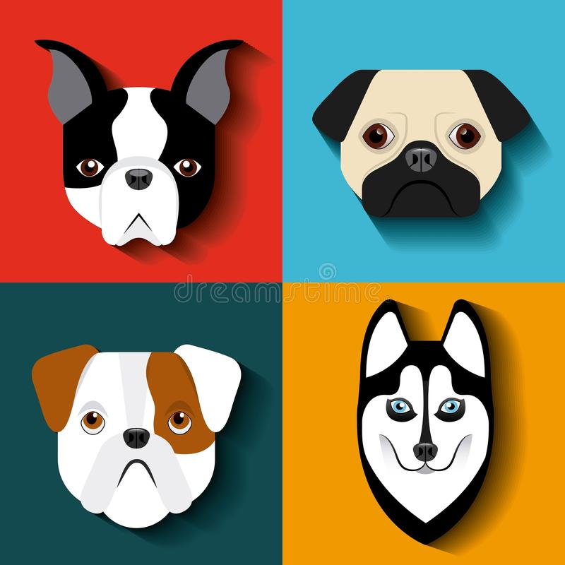 purebred dogs design stock illustration