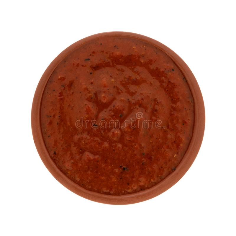 Puree roasted red bell pepper spread in a bowl royalty free stock photos