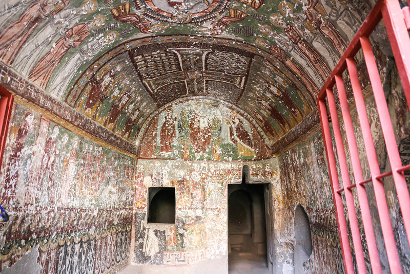 Purenli Seki Church in Ihlara-Tal, die Türkei stockfotografie