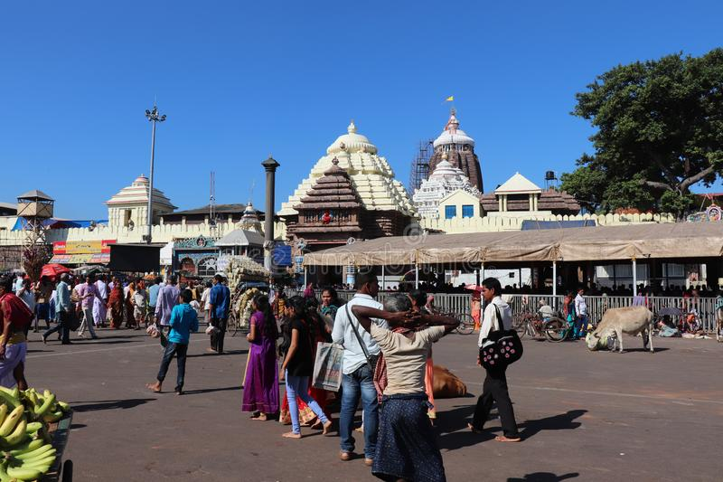 Puri i Odisha på 1st November, 2018: - Shree Jagannath tempel royaltyfri fotografi