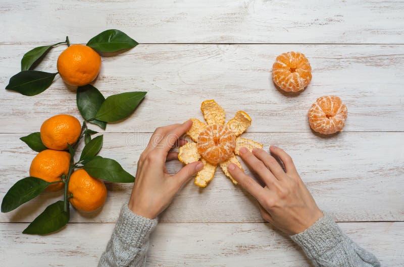 Purification des mandarines à la table Vue supérieure photo stock