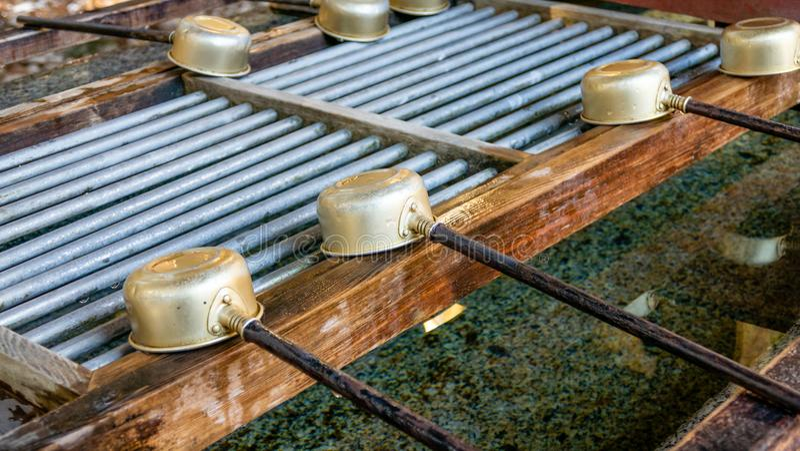 Purification japonaise avec les poches en bambou photo stock
