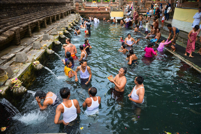 Download Purification In Sacred Holy Spring Water, Bali Editorial Image - Image of brick, people: 29173955