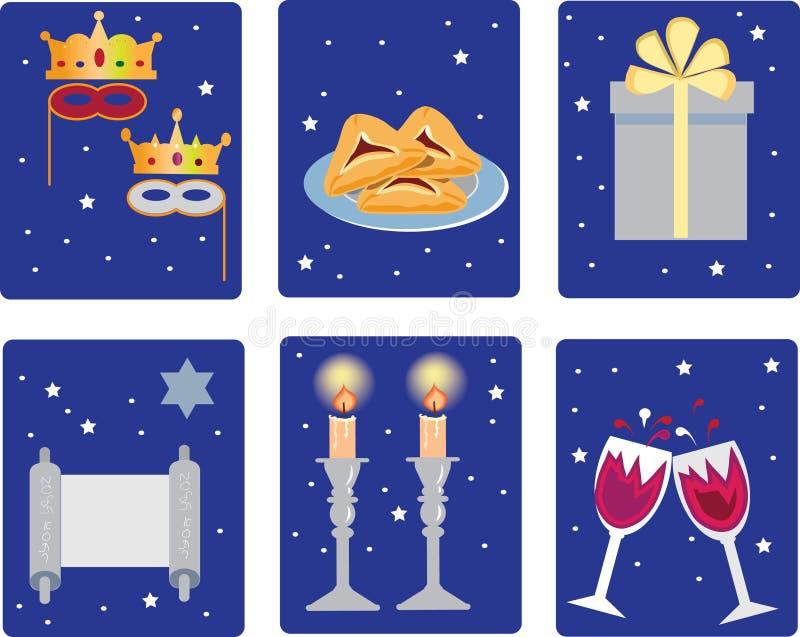 Purim, ícones dos feriados, feriado religioso judaico ilustração stock