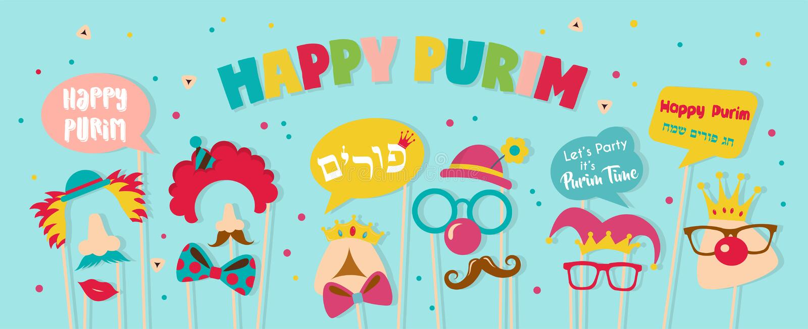 Purim banner template design, Jewish holiday vector illustration . happy Purim in Hebrew. vector illustration- Happy vector illustration