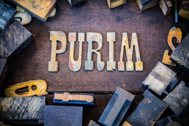 Purim begrepp Rusty Type royaltyfria foton