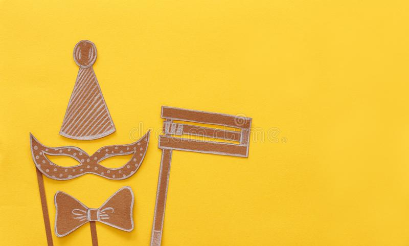 Purim celebration concept & x28;jewish carnival holiday& x29;. Traditional symbols shapes cutted from paper. royalty free stock images