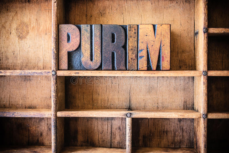 Purim Concept Wooden Letterpress Theme stock photography
