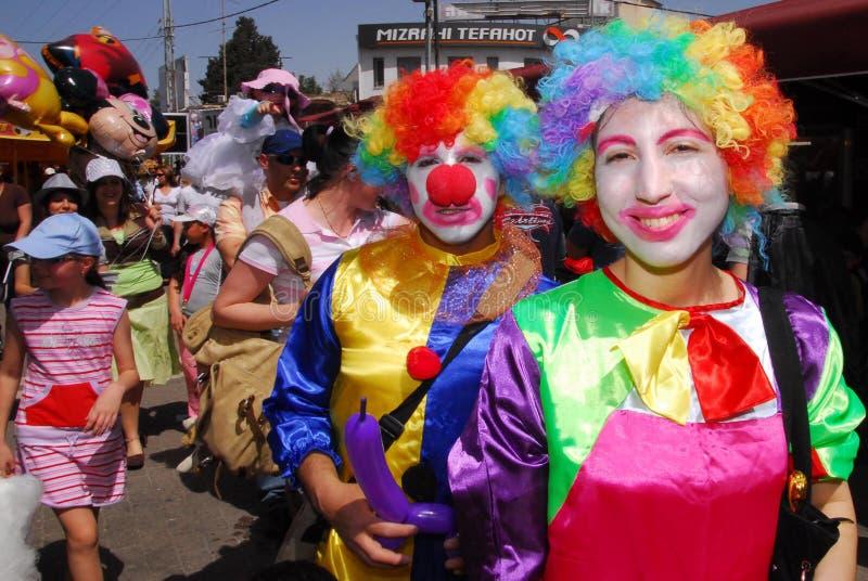 Purim-Feier - Adloyada-Parade in Israel stockfotos