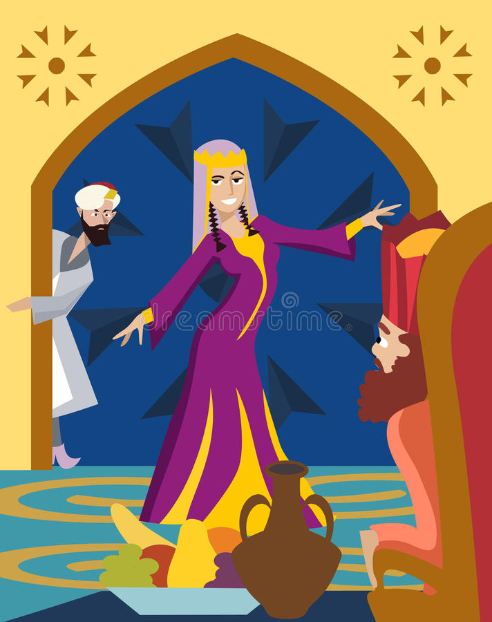 Purim greetings, The Feast of Esther. Purim greeting card, The Feast of Esther funny cartoon illustration royalty free illustration