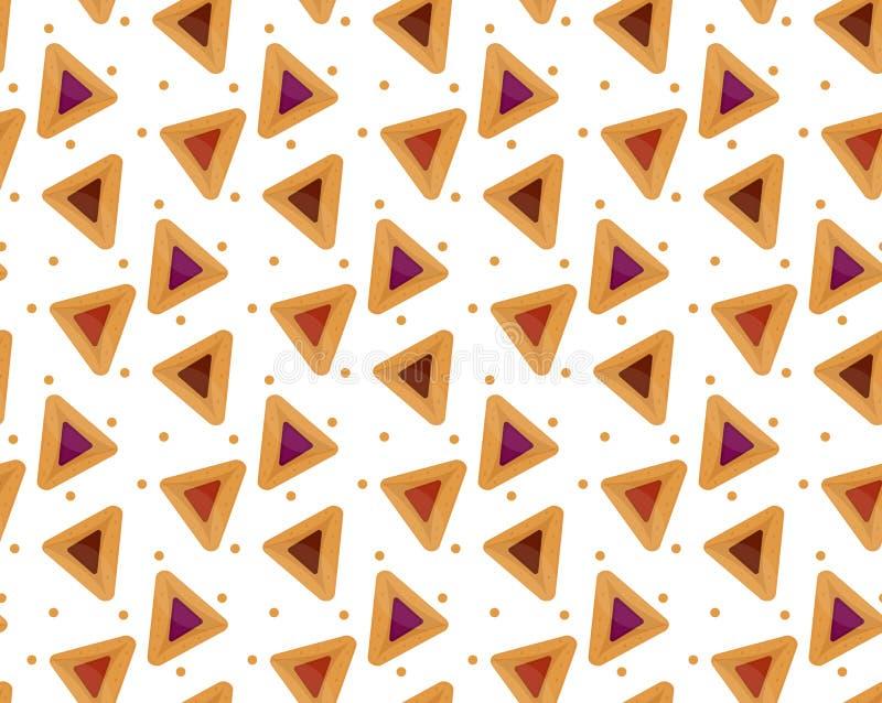 Purim hamantaschen o teste padrão sem emenda Prato tradicional judaico no feriado de fundo infinito, textura, papel de parede ilustração royalty free