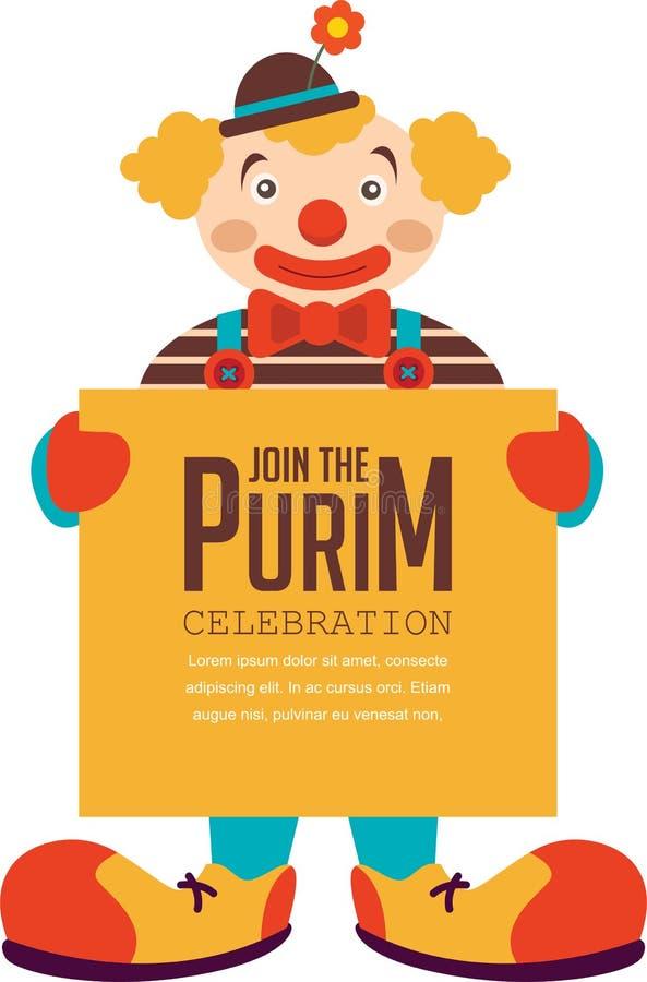 Purim heureux, vacances juives clown tenant l'affiche de salutation illustration de vecteur