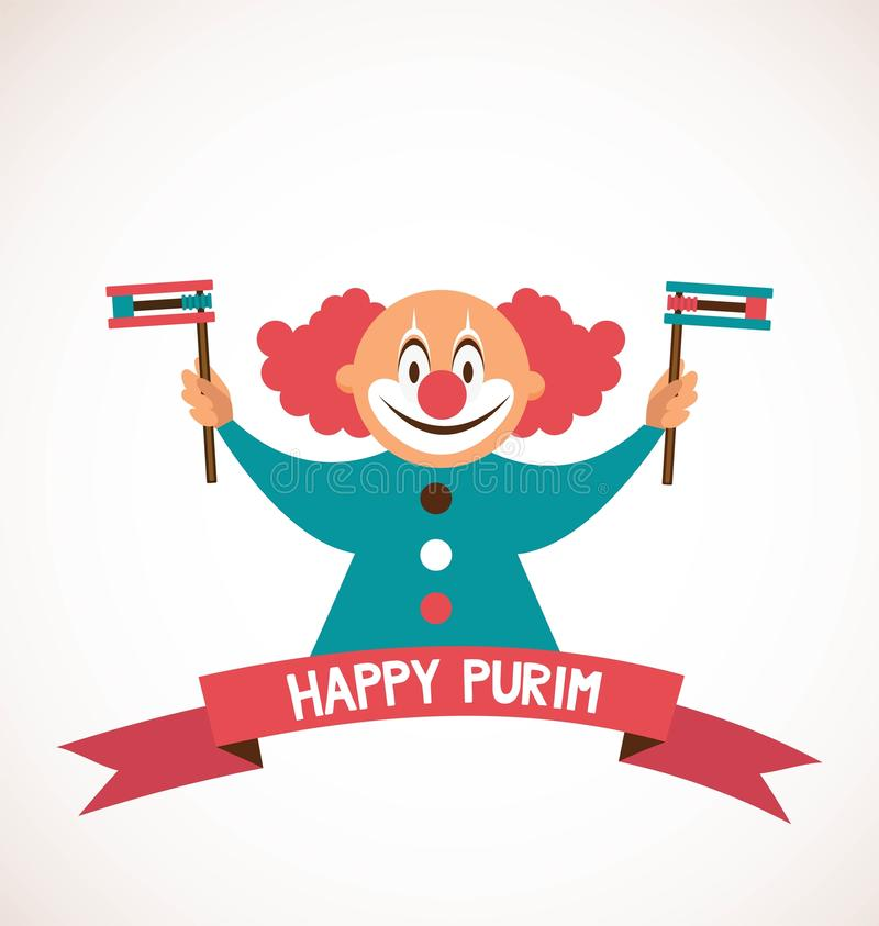 Purim heureux, vacances juives clown tenant l'objet traditionnel illustration stock