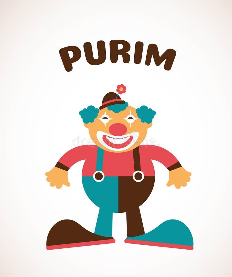 Purim heureux, vacances juives illustration de vecteur d'un clown illustration libre de droits