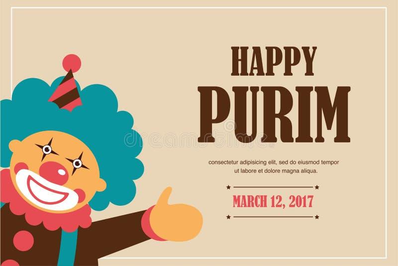 Purim heureux, vacances juives illustration de vecteur d'un clown tenant des baloons illustration de vecteur