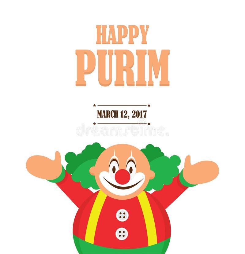 Purim heureux, vacances juives illustration de vecteur d'un clown tenant des baloons illustration stock
