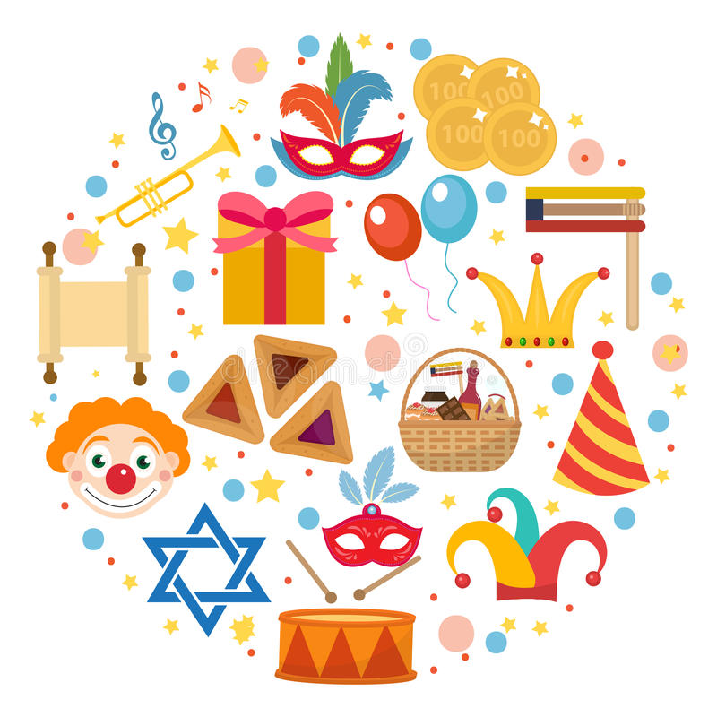 purim icons set in round shape isolated on white background vector rh dreamstime com purim clip art graphics Purim Gragger