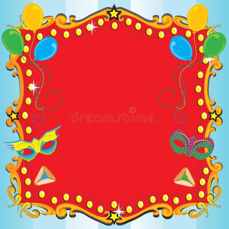 Purim Karnevals-Party-Einladungs-Plakat stock abbildung