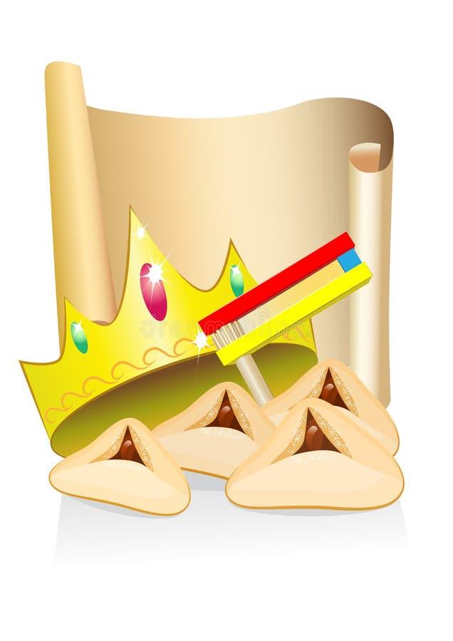 Purim Kuchen und Krone mit Platz für Text lizenzfreie abbildung