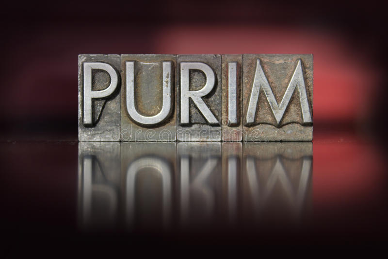 Purim Letterpress royalty free stock photo