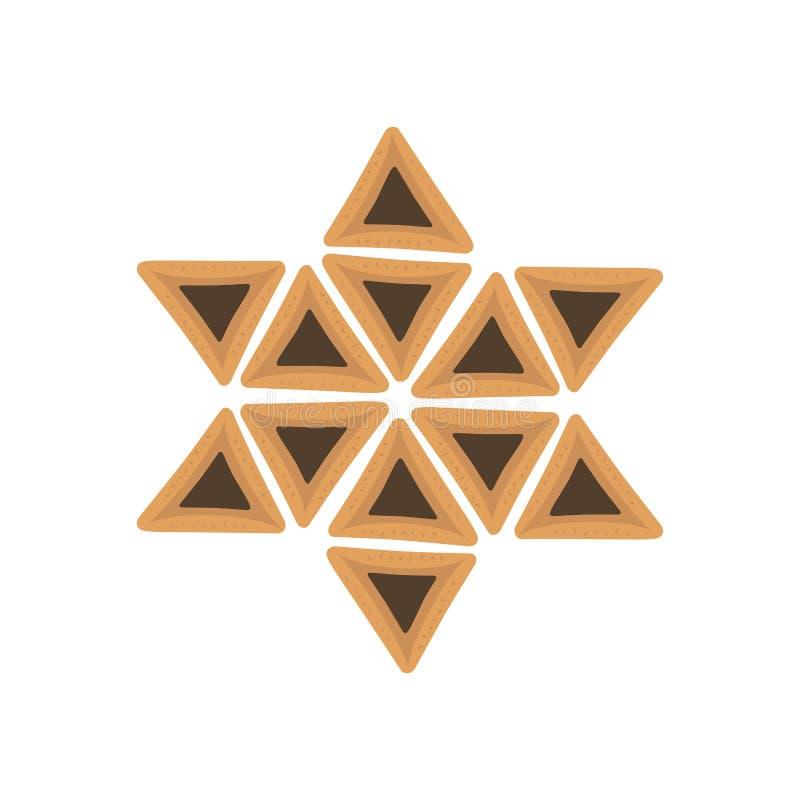 Purim projekta wakacyjne płaskie ikony hamantashs w gwiazdzie dawidowa s ilustracji