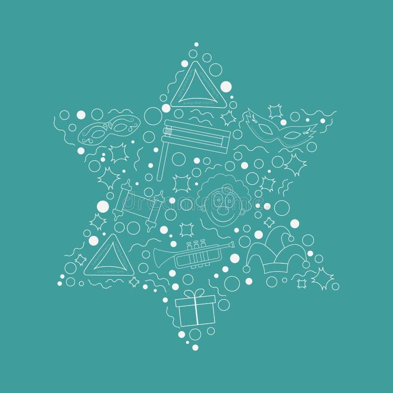 Purim projekta wakacyjnego płaskiego bielu cienkie kreskowe ikony ustawiać w gwiazdzie d ilustracja wektor