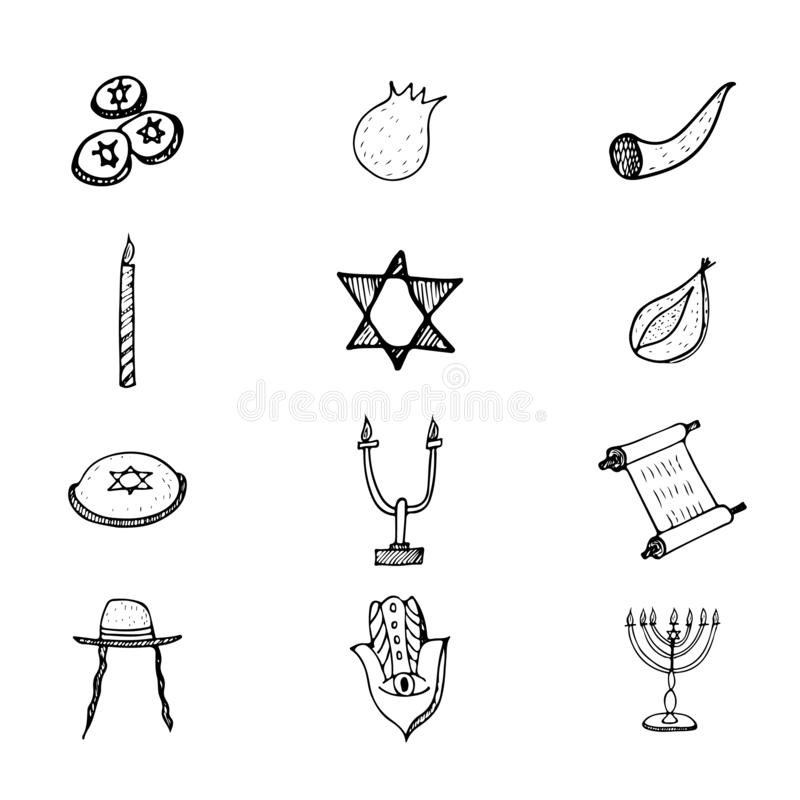 Purim set doodle hand, great design for any purposes. Isolated illustration on white background. Hanukkah doodle set. Fun holiday royalty free illustration