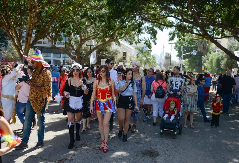 A Purim street party in Tel-aviv Israel royalty free stock image