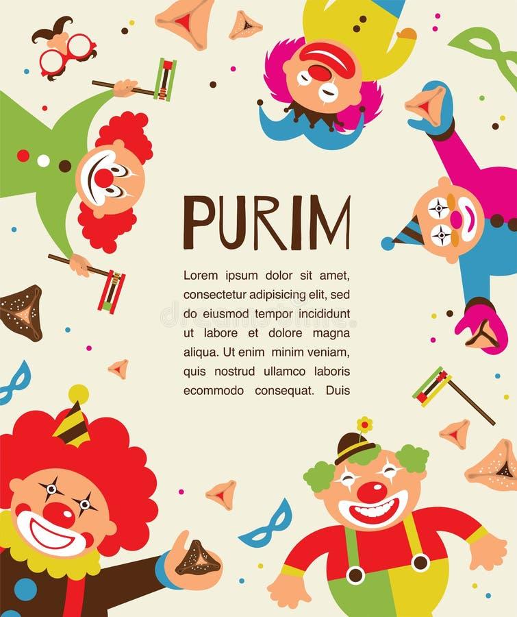 Purim szablonu projekt, Żydowski wakacje ilustracja wektor