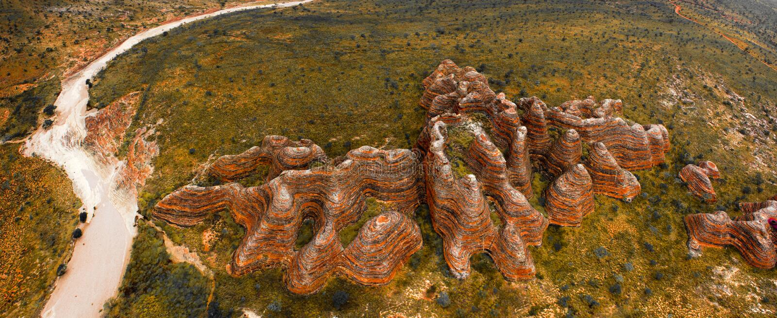 Purnululu National Park (The Bungle Bungle). The Bungle Bungle sandstone massif dates back some 380 million years, and the striking beehive domes have protected royalty free stock image