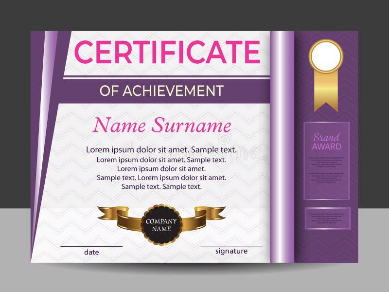 Purper certificaat van voltooiing of diploma Beloningssport Het winnen van de concurrentie toekenningswinnaar Vector stock illustratie