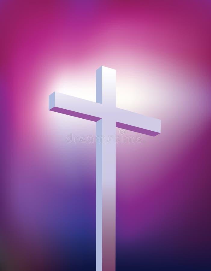 Purper christelijk kruis stock illustratie