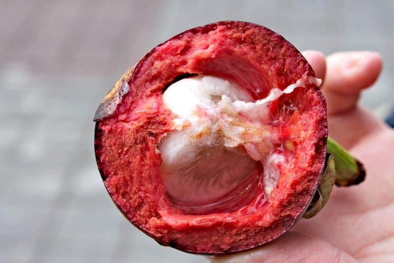 Purper die mangostanfruit in de helft wordt gesneden stock foto