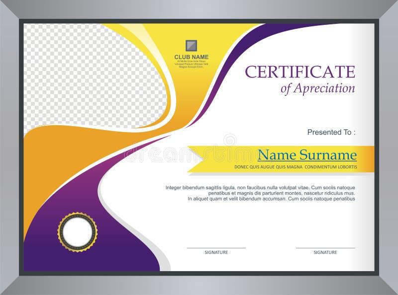Purper en geel Certificaat - het ontwerp van het Diplomamalplaatje stock illustratie