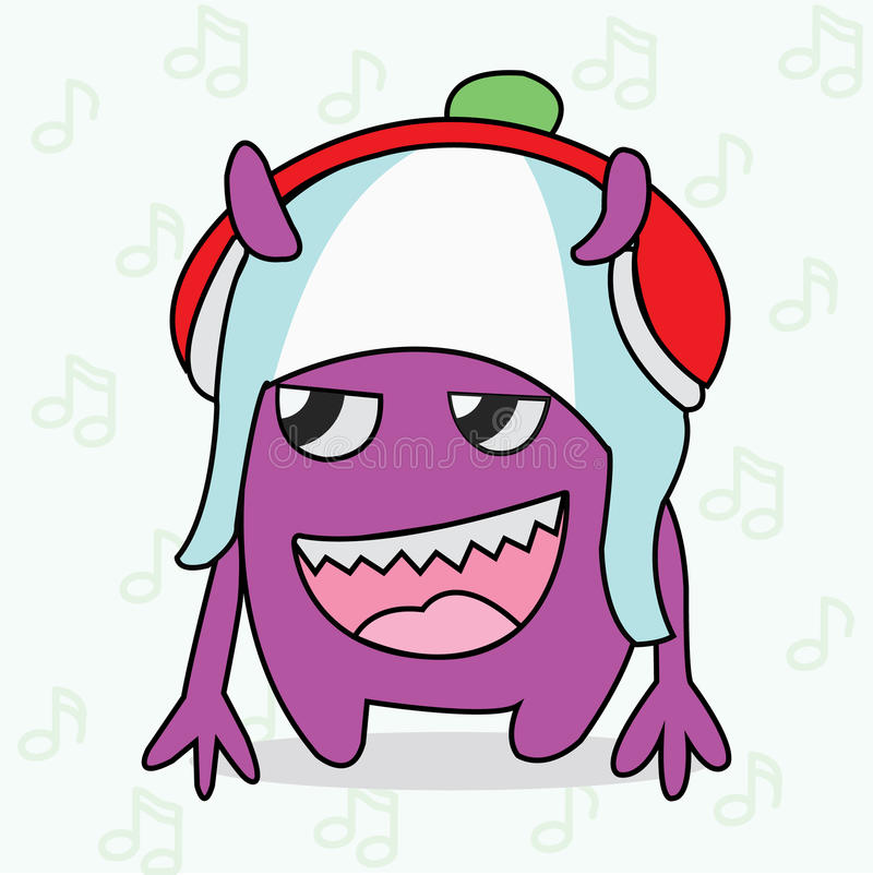 Purper Monster met Rode en Witte Hoofdtelefoon stock fotografie