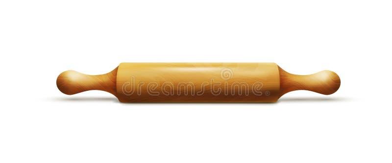 Purper nagellak met zilveren GLB op een witte achtergrond Houten die deegrol op witte achtergrond wordt geïsoleerd stock illustratie