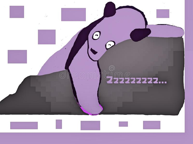 Purper Panda Sleeps royalty-vrije illustratie