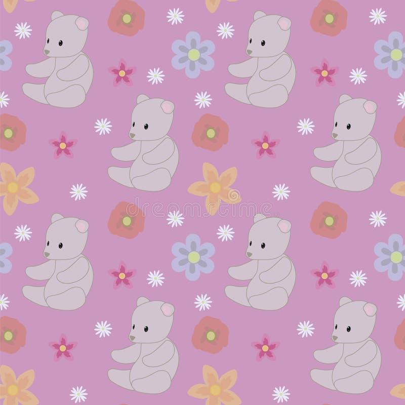 Purper roze het stuk speelgoed van de achtergrond grijs teddybeerbaby rood blauw bloemen naadloos vectorpatroon stock illustratie
