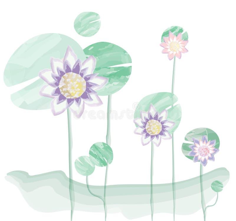 Purper-roze lotusbloem op lotusbloemblad, de vectorillustratie van de waterverfborstel stock illustratie