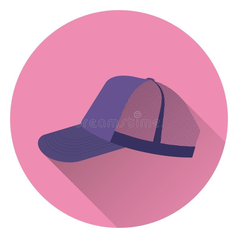 Purper sporten retro honkbal GLB met netwerk Voor roze achtergrond, vlakke stijl, met schaduw pictogram royalty-vrije illustratie