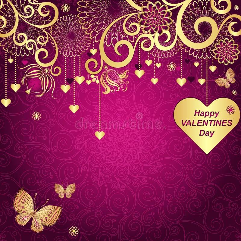 Purper Valentijnskaartenkader met gouden harten vector illustratie