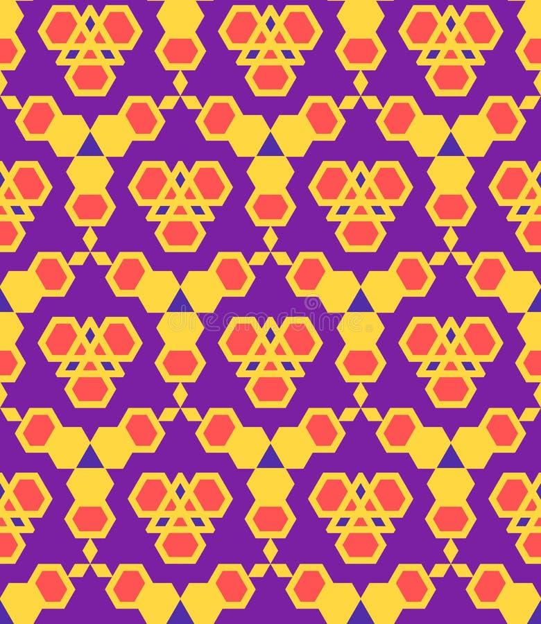 Purper violet rood oranje abstract geometrisch naadloos patroon royalty-vrije illustratie