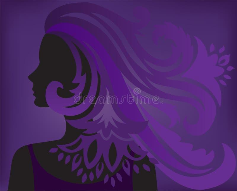 Purpere achtergrond met een silhouet van een vrouw stock illustratie
