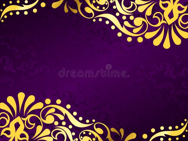 Purpere achtergrond met gouden filigraan, horizontaal stock illustratie